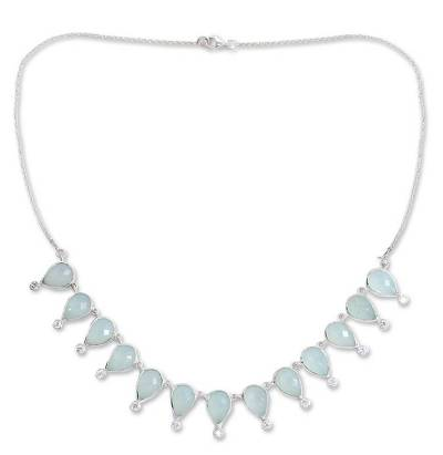 Chalcedony waterfall necklace