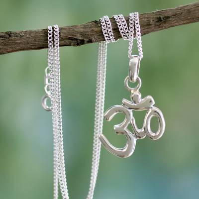 Sterling silver pendant necklace, 'Light of Om' - Sterling Silver Necklace from Yoga Jewelry Collection