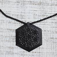 Ebony flower necklace, 'Mughal Enchantress' - Ebony Wood Necklace Handmade Indian Jewelry