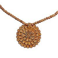 Wood flower necklace, 'Chrysanthemum Star' - Hand Carved Floral Wood Necklace from India
