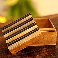 Wood jewelry box, 'Subtle Brown' - Wood jewelry box
