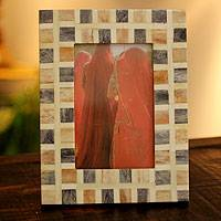 Bone photo frame, 'Earth Sonnet' (4x6) - Hand Crafted Bone Photo Frame (4x6)