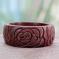 Wood bangle bracelet, Brown Rose Blossom
