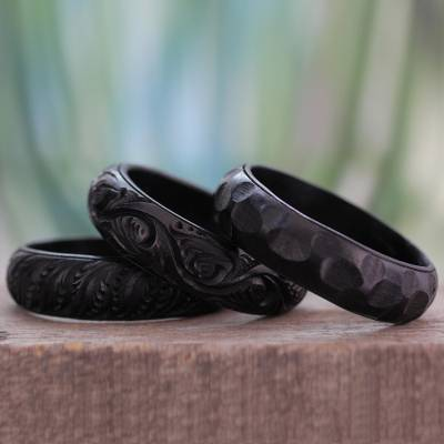 Wood bangle bracelets, Glorious Goa (set of 3)