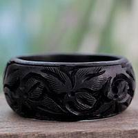 Wood bangle bracelet, 'Fragrant Flowers' - Unique Wood Bangle Bracelet