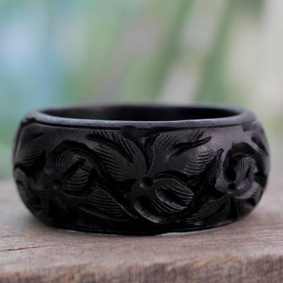 Wood bangle bracelet, Fragrant Flowers