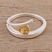 Citrine solitaire ring, 'Circle of Love' - Handcrafted Sterling Silver Solitaire Citrine Ring