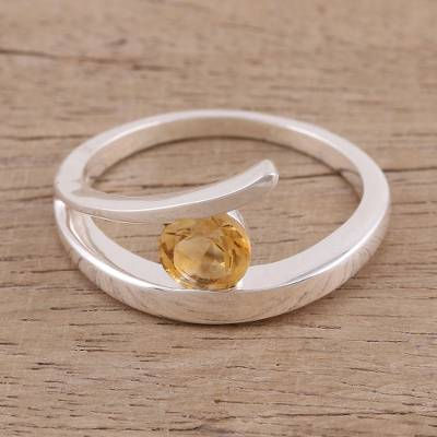 Citrine solitaire ring, 'Dazzling Love' - Handcrafted Sterling Silver Solitaire Citrine Ring