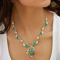 Turquoise and cultured pearl Y-necklace, 'Dew Blossom'