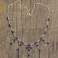 Amethyst waterfall necklace, 'Feminine Splendor' - Amethyst waterfall necklace