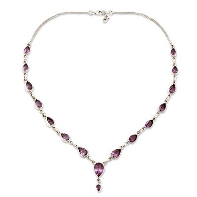Amethyst Sterling Silver Y Necklace from India