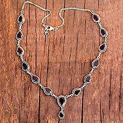 Garnet Y-necklace, 'Halo of Beauty' - Garnet Necklace Sterling Silver Artistmade Jewelry