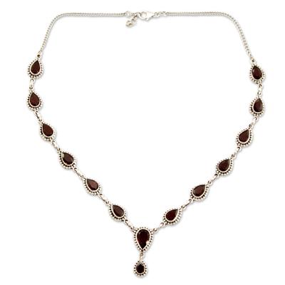 Garnet Necklace Sterling Silver Artistmade Jewelry