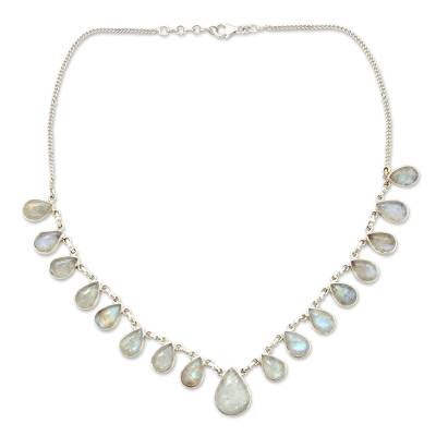 Hand Made Moonstone Jewelry Sterling Silver Necklace