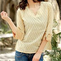Cotton tunic, 'Desert Empress' - Tunic Top Cotton Blouse Beige Brown India