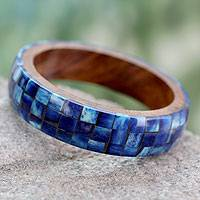 Bone and wood bangle bracelet, 'Blue Symphony' - Wood Bangle Bracelet with Bone Inlay