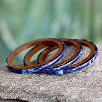 Bone and wood bangle bracelets, 'Blue Symphony' (set of 3) - Bone on Wood Bangle Bracelets from India (Set of 3)