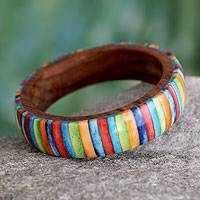 Wood bangle bracelet, 'Rainbows' - India Handcrafted Bone Inlay on Wood Bracelet