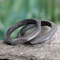 Wood bangle bracelet, 'Forest Whisper' (pair) - Wood bangle bracelet (Pair)