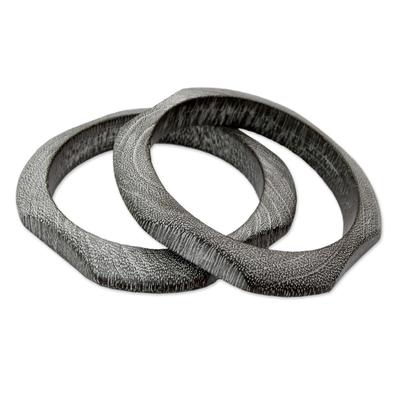 Wood bangle bracelet (Pair)