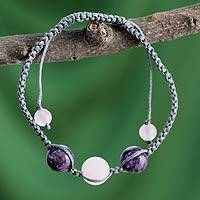 Rose quartz and charoite Shambhala-style bracelet, 'Serene Joy' - Indian Cotton Cord Charoite and Rose Quartz Bracelet