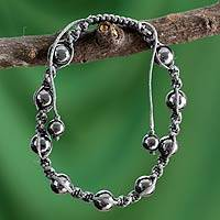 Hematite shamballa bracelet, 'Quiet Peace' - Hand Crafted Cotton Beaded Hematite Shamballa Bracelet