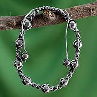 Hematite Shambhala-style bracelet, 'Quiet Peace'