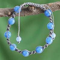 Chalcedony Shambhala-style bracelet, 'In Harmony' - Handcrafted Cotton Beaded Chalcedony Bracelet