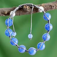 Chalcedony Shambhala-style bracelet,