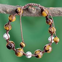 Tiger's eye Shambhala-style bracelet, 'Warmth of Bliss' - Tiger's eye Shambhala-style bracelet
