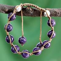 Charoite Shambhala-style bracelet, 'Move Toward Bliss' - Artisan Crafted Sterling Silver Cotton and Charoite Bracelet