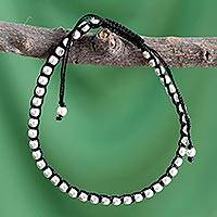 Sterling silver Shambhala-style bracelet, 'Glow' - Fair Trade Cotton Sterling Silver Cord Bracelet from India
