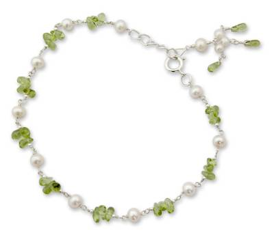 Pearl and Peridot Anklet from India Handmade Jewelry