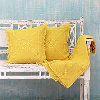 Cotton throw and cushion covers, 'Jaipur Sunshine' (3 pieces) - Cotton throw and cushion covers (3 Pieces)