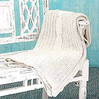 Cotton throw, 'Bihar Cream' - Cotton throw