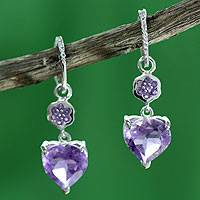 Amethyst and topaz heart earrings, 'Light of Love' - Hand Made Amethyst Heart Earrings