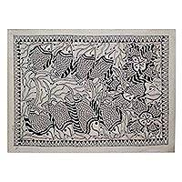 Madhubani painting, 'Fish Family II' - Madhubani painting
