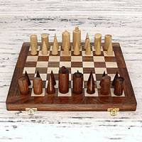 Wood chess set, 'Challenge of the Future' - Hand-carved Wood Chess Set Board Storage Box
