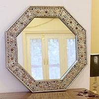Mirror, 'Elegance' - Nickel On Brass Glass Inlay Wall Mirror 23x23 In