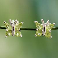 Peridot button earrings,