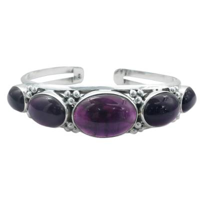 Amethyst on Sterling Silver Cuff Bracelet Indian Jewelry