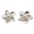 Cultured pearl button earrings, 'White Jasmine' - Pearl Bridal Jewelry Sterling Silver Earrings (image 2a) thumbail