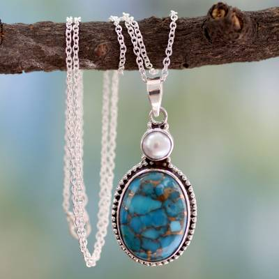 Sterling silver pendant necklace, 'Blue Visions' - Handcrafted jewellery Sterling Silver Necklace