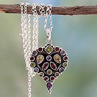 Garnet and amethyst pendant necklace, 'Heart's Desire' - Heart Shaped Sterling Silver Necklace with Multigem