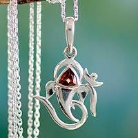 Garnet pendant necklace, 'Mystical Ganesha' - Sterling Silver and Garnet Necklace Hinduism Jewelry