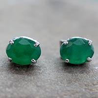 Sterling silver button earrings, 'India Green' - Green Onyx Stud Earrings