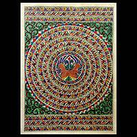 Madhubani painting, 'Peacock Dance I' - Indian Madhubani Painting