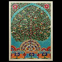 Madhubani painting, 'Worshipping Nature' - Madhubani painting
