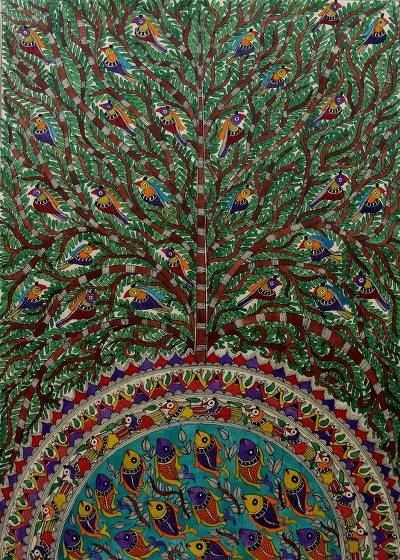 Madhubani painting, 'Peaceful Coexistence' - Madhubani painting
