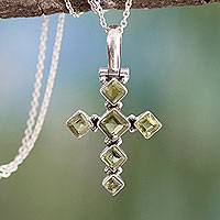 Peridot cross necklace, 'Joyous Cross' - Cross Jewelry Peridot and Sterling Silver Necklace